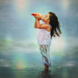 Small girl blowing conch shell - 20x30