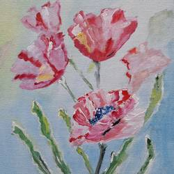 Floral Art - 6 Rose Bunch  size - 7.5x8.5In - 7.5x8.5