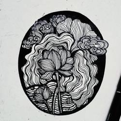 Hand drawn Lotus - 6x6