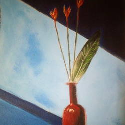 FLOWER STILL LIFE PAINTING - 8.27x11.69