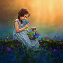 Little girl with flowers in garden - 35x24