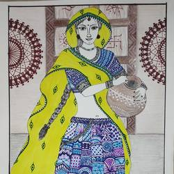 Rajasthani village girl - 11.7x16.5