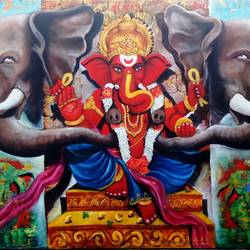 Ganesha and Gajanan size - 48x36In - 48x36