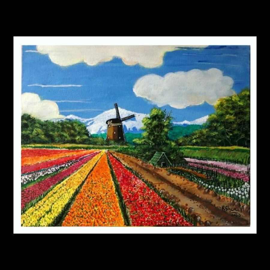 himalayan tulip garden, 20 x 16 inch, kshama  v,20x16inch,canvas,paintings,landscape paintings,nature paintings | scenery paintings,paintings for living room,acrylic color,ADR20218030229