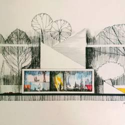 Modern Architectural art work - 8x11