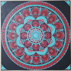 Red & Blue mandala dot art - 18x18