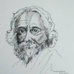 Portrait of Ravindranath Tagore - 8x11