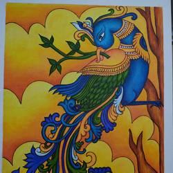 Kerala Mural Painting Peacock - 16x24