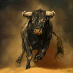 Fortune Wild Buffalo - Auspicious for health - 22x30