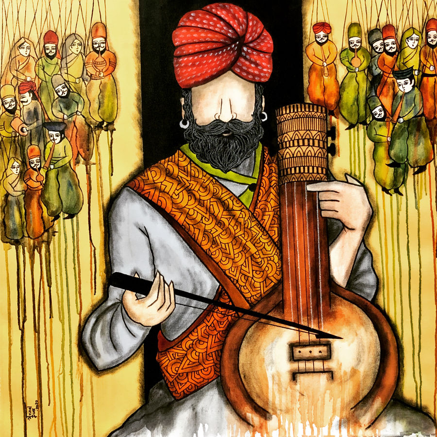swar lahri, 36 x 36 inch, mrinal  dutt,36x36inch,canvas,paintings,figurative paintings,folk art paintings,contemporary paintings,paintings for dining room,paintings for living room,paintings for bedroom,paintings for office,paintings for bathroom,paintings for kids room,paintings for hotel,paintings for kitchen,paintings for schools & colleges,paintings for hospital,acrylic color,ADR13117030331