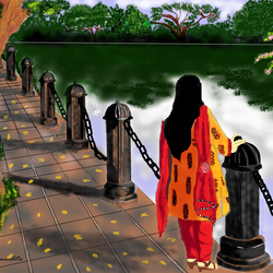Digital Painting - Standing a girl beside a lake - 43.5x29