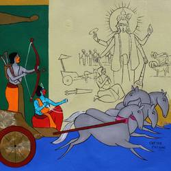 Krishna on the chariot - 22x17