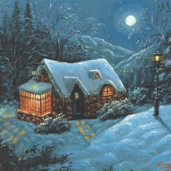 The Christmas Cottage - 16x12