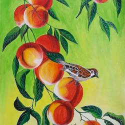 Sparrow on red plums - 13x16