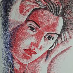 Kste Winslet - Ball point pen Scribble art - 12x17