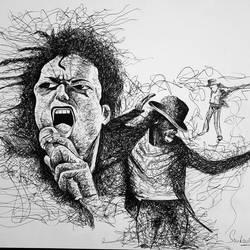 Michael Jackson - Ball point pen Scribble art - 12x17
