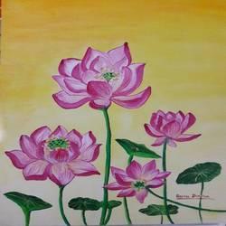 Lotus in sunrise - 12x16
