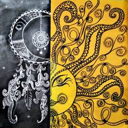 sun and moon doodle art and painting work - 27x22