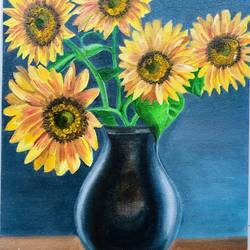 SUNFLOWERS IN A VASE - 12x16