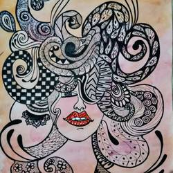 face doodle art painting-female face - 14x22.5