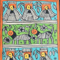 Madhubani Animal and Bird Panel - 4.2x13
