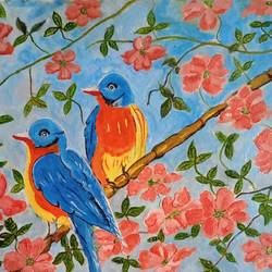The birds among the pink flowers  - 16x12