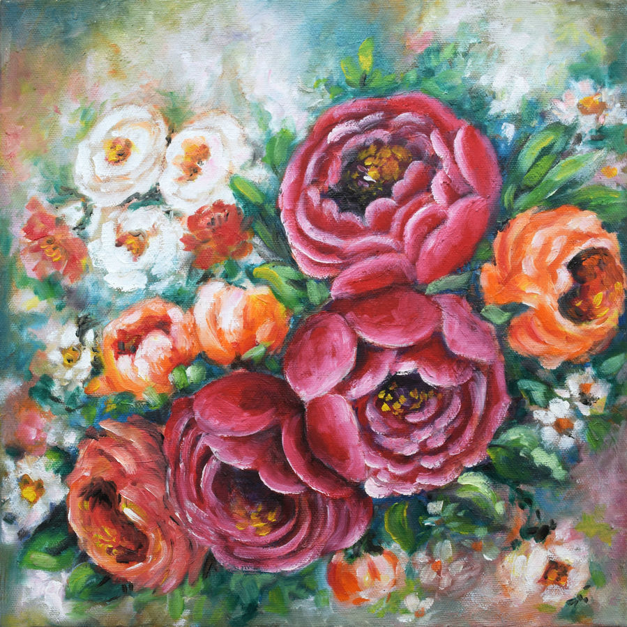 rose blossoms, 12 x 12 inch, deepa singh,12x12inch,canvas,paintings,abstract paintings,flower paintings,nature paintings | scenery paintings,abstract expressionism paintings,paintings for dining room,paintings for living room,paintings for bedroom,paintings for office,paintings for bathroom,paintings for kids room,paintings for hotel,paintings for kitchen,paintings for schools & colleges,paintings for hospital,oil color,ADR10601030704