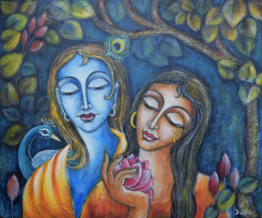 eternal love (radha & krishna), 24 x 22 inch, deepa singh,24x22inch,canvas,paintings,abstract paintings,figurative paintings,religious paintings,portrait paintings,radha krishna paintings,contemporary paintings,paintings for dining room,paintings for living room,paintings for bedroom,paintings for office,paintings for hotel,paintings for schools & colleges,paintings for hospital,acrylic color,ADR10601030708