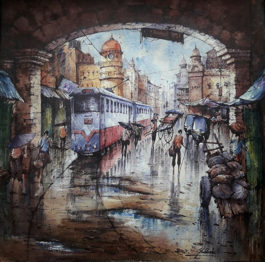 tram in kolkata-1, 22 x 22 inch, shubhashis mandal,22x22inch,handmade paper,paintings,cityscape paintings,paintings for dining room,paintings for living room,paintings for bedroom,paintings for hotel,watercolor,ADR18644030710