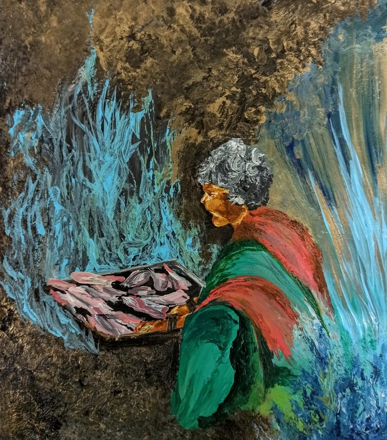 fisherwoman, 11 x 12 inch, ritika gupta,11x12inch,thick paper,paintings,conceptual paintings,paintings for dining room,paintings for living room,paintings for office,paintings for hotel,paintings for schools & colleges,paintings for hospital,paintings for dining room,paintings for living room,paintings for office,paintings for hotel,paintings for schools & colleges,paintings for hospital,acrylic color,ADR20417030712
