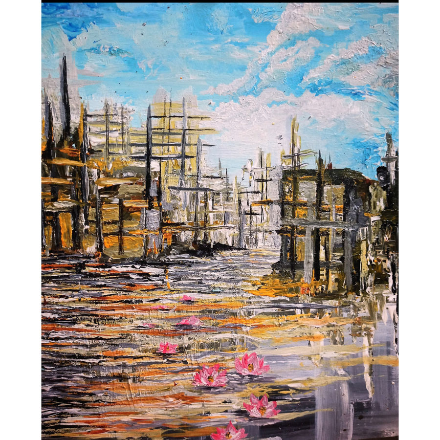 silence of the city, 11 x 12 inch, ritika gupta,11x12inch,thick paper,paintings,abstract paintings,cityscape paintings,landscape paintings,modern art paintings,expressionism paintings,surrealism paintings,paintings for dining room,paintings for living room,paintings for bedroom,paintings for office,paintings for bathroom,paintings for kids room,paintings for hotel,paintings for kitchen,paintings for schools & colleges,paintings for hospital,acrylic color,ADR20417030715