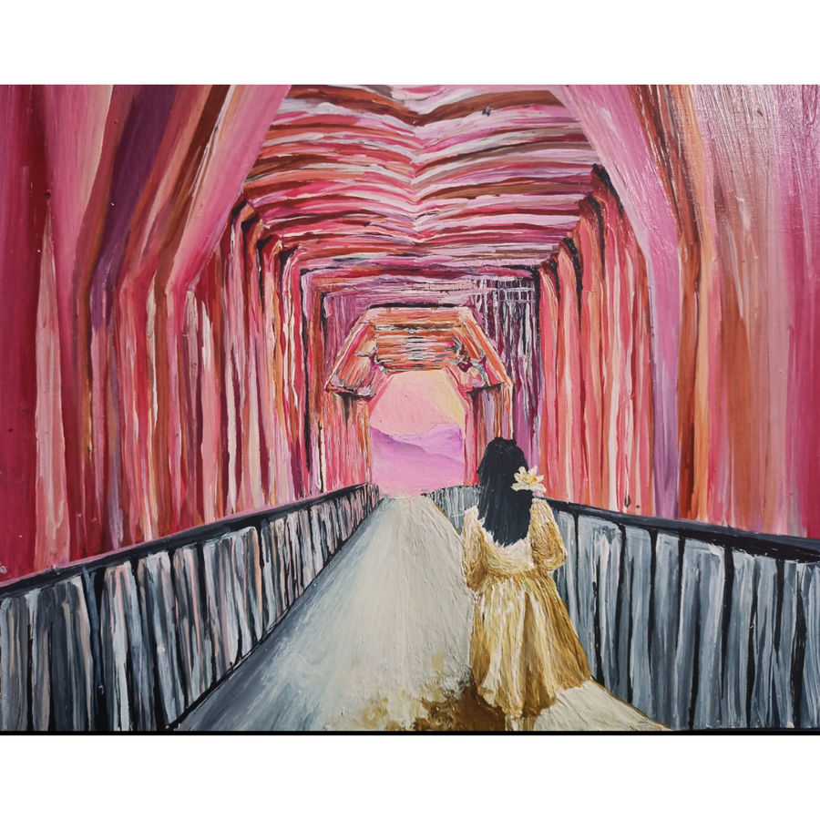 bridge to afterlife, 14 x 11 inch, ritika gupta,14x11inch,thick paper,paintings,cityscape paintings,modern art paintings,conceptual paintings,abstract expressionism paintings,expressionism paintings,paintings for dining room,paintings for living room,paintings for bedroom,paintings for office,paintings for bathroom,paintings for kids room,paintings for hotel,paintings for kitchen,paintings for schools & colleges,paintings for hospital,acrylic color,ADR20417030718