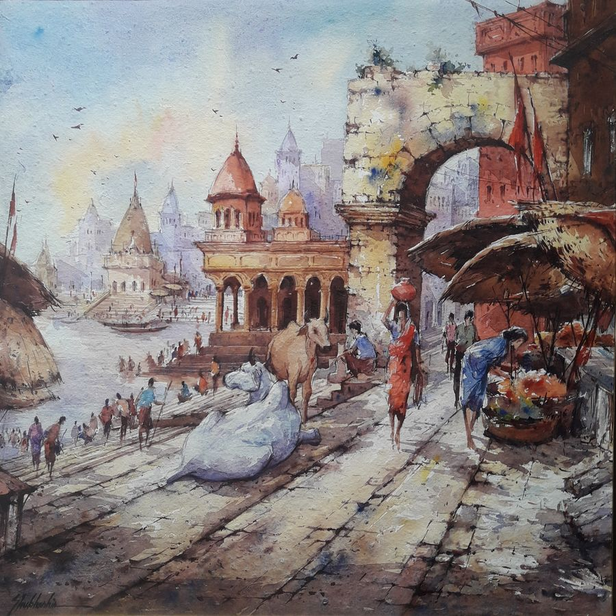 benaras ghat-1, 15 x 15 inch, shubhashis mandal,15x15inch,handmade paper,paintings,religious paintings,paintings for dining room,paintings for living room,paintings for bedroom,paintings for office,paintings for hotel,watercolor,ADR18644030721