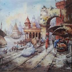 Benaras ghat-1 - 15x15