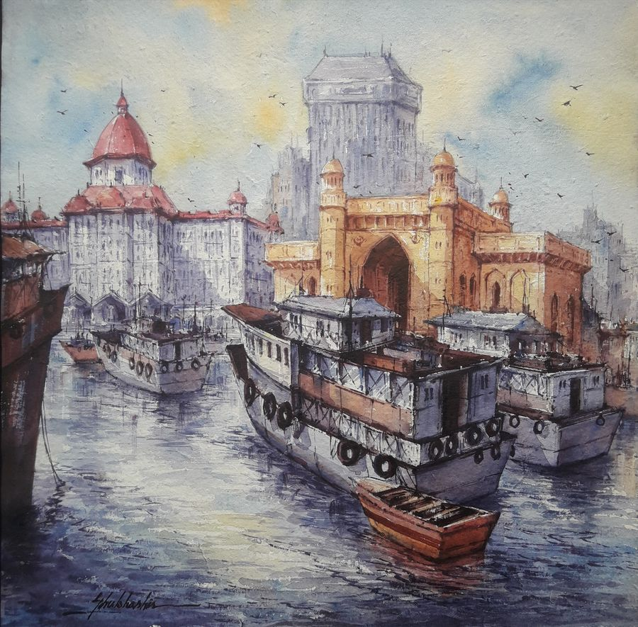 indian gateway-1, 15 x 15 inch, shubhashis mandal,15x15inch,handmade paper,paintings,cityscape paintings,paintings for dining room,paintings for living room,paintings for bedroom,paintings for office,paintings for hotel,watercolor,ADR18644030723