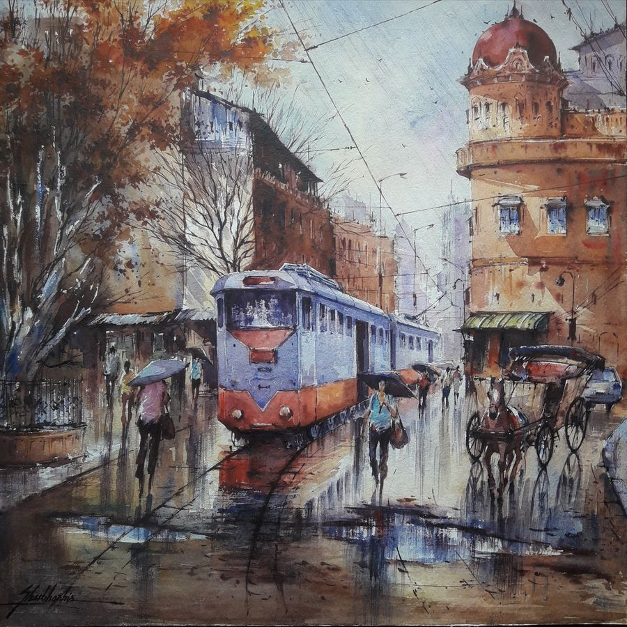 tram in kolkata-2, 15 x 15 inch, shubhashis mandal,15x15inch,handmade paper,paintings,cityscape paintings,paintings for dining room,paintings for living room,paintings for bedroom,paintings for office,paintings for hotel,watercolor,ADR18644030724