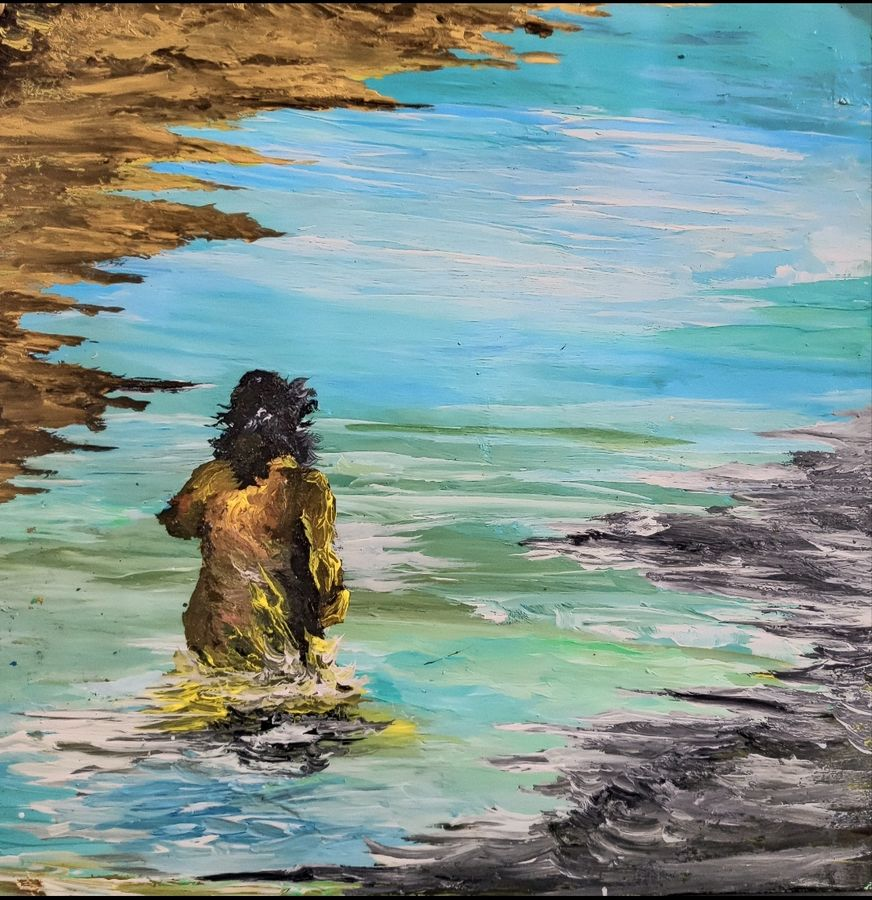 woman on the shore, 14 x 14 inch, ritika gupta,14x14inch,thick paper,paintings,abstract paintings,figurative paintings,conceptual paintings,nature paintings | scenery paintings,abstract expressionism paintings,art deco paintings,expressionism paintings,paintings for dining room,paintings for living room,paintings for bedroom,paintings for office,paintings for bathroom,paintings for kids room,paintings for hotel,paintings for kitchen,paintings for schools & colleges,paintings for hospital,acrylic color,ADR20417030725
