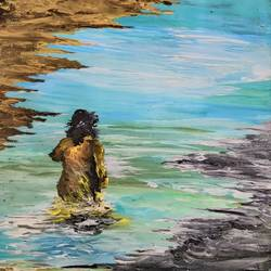 Woman on the shore - 14x14