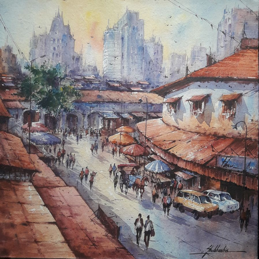 city in france-1, 15 x 15 inch, shubhashis mandal,15x15inch,handmade paper,paintings,cityscape paintings,paintings for dining room,paintings for living room,paintings for bedroom,paintings for office,paintings for hotel,watercolor,ADR18644030726