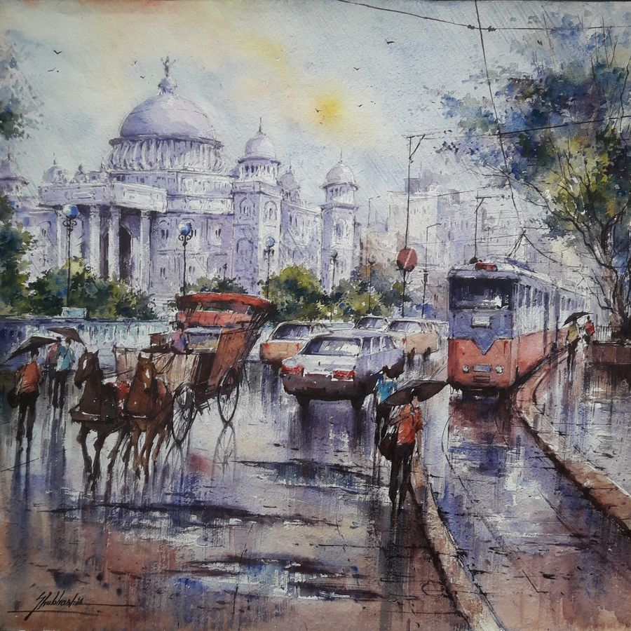 victoria memorial in kolkata , 15 x 15 inch, shubhashis mandal,15x15inch,handmade paper,paintings,cityscape paintings,paintings for dining room,paintings for living room,paintings for bedroom,paintings for office,paintings for hotel,watercolor,ADR18644030727