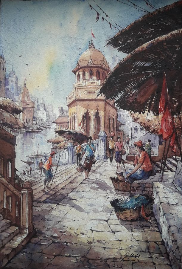 benaras ghat-2, 15 x 22 inch, shubhashis mandal,15x22inch,handmade paper,paintings,religious paintings,paintings for dining room,paintings for living room,paintings for bedroom,paintings for office,paintings for hotel,watercolor,ADR18644030728