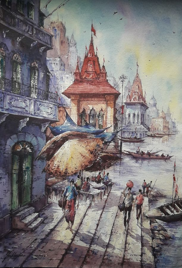 benaras ghat-3, 15 x 22 inch, shubhashis mandal,15x22inch,handmade paper,paintings,religious paintings,paintings for dining room,paintings for living room,paintings for bedroom,paintings for office,paintings for hotel,watercolor,ADR18644030729