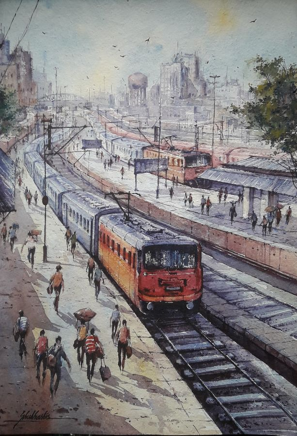 railway station-1, 15 x 22 inch, shubhashis mandal,15x22inch,handmade paper,paintings,landscape paintings,paintings for dining room,paintings for living room,paintings for bedroom,paintings for office,paintings for hotel,watercolor,ADR18644030731