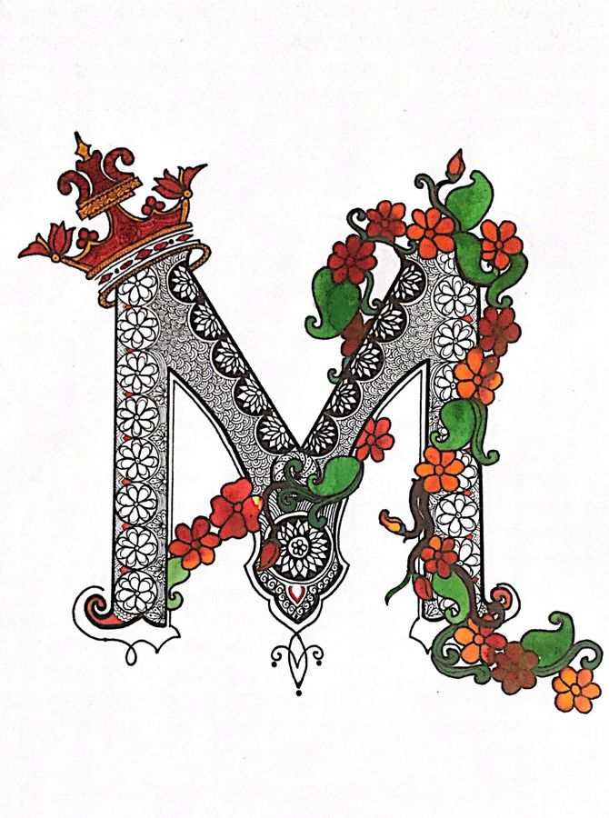 letter m , 16 x 11 inch, ekaansh  garg,16x11inch,ivory sheet,paintings,flower paintings,modern art paintings,paintings for bedroom,paintings for kids room,ink color,mixed media,pen color,photo ink,ADR21228030736