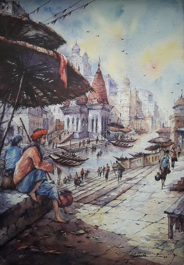 benaras ghat-5, 15 x 22 inch, shubhashis mandal,15x22inch,handmade paper,paintings,religious paintings,paintings for dining room,paintings for living room,paintings for bedroom,paintings for office,paintings for hotel,watercolor,ADR18644030738