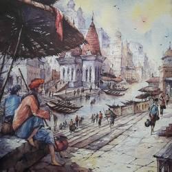 Benaras ghat-5 - 15x22