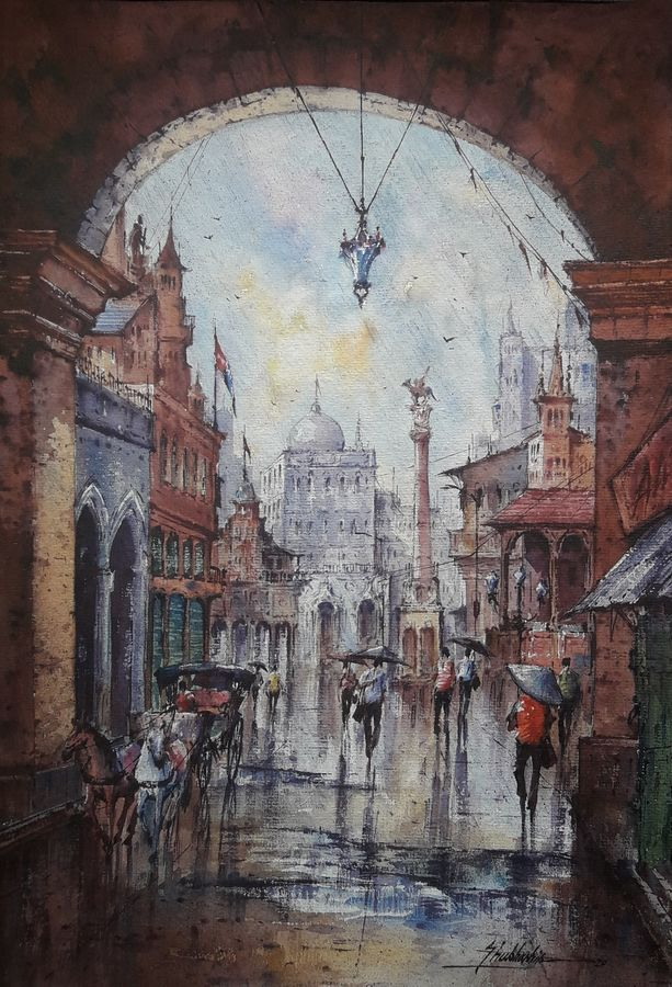 city in italy-1, 15 x 22 inch, shubhashis mandal,15x22inch,handmade paper,paintings,cityscape paintings,paintings for dining room,paintings for living room,paintings for bedroom,paintings for office,paintings for hotel,watercolor,ADR18644030739