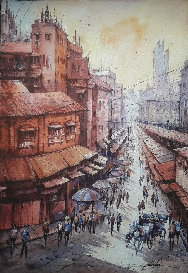 city in france-2, 15 x 22 inch, shubhashis mandal,15x22inch,handmade paper,paintings,cityscape paintings,paintings for dining room,paintings for living room,paintings for bedroom,paintings for office,paintings for hotel,watercolor,ADR18644030742