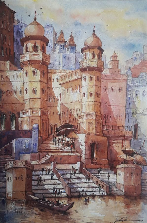 benaras ghat-6, 15 x 22 inch, shubhashis mandal,15x22inch,handmade paper,paintings,religious paintings,paintings for dining room,paintings for living room,paintings for bedroom,paintings for office,paintings for hotel,watercolor,ADR18644030749