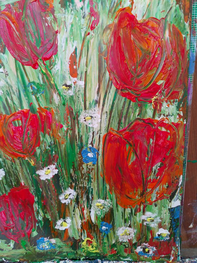 tulips in bloom, 12 x 15 inch, shikha kumar,12x15inch,paper,paintings,flower paintings,acrylic color,ADR20981030750